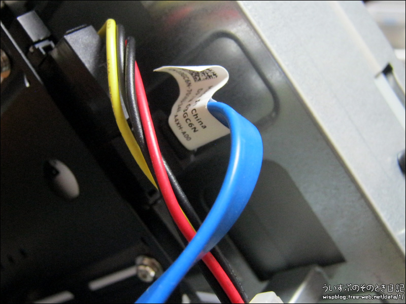 SATA、電源ケーブル接続