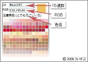 和風の色見本ブログパーツ