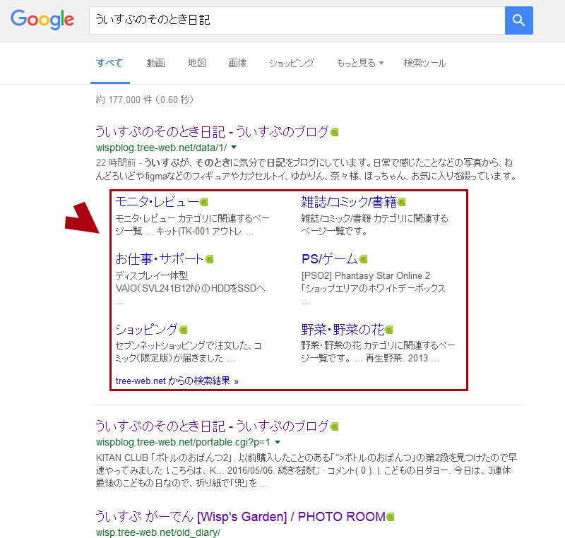 Googleの検索結果にサブページがでた!