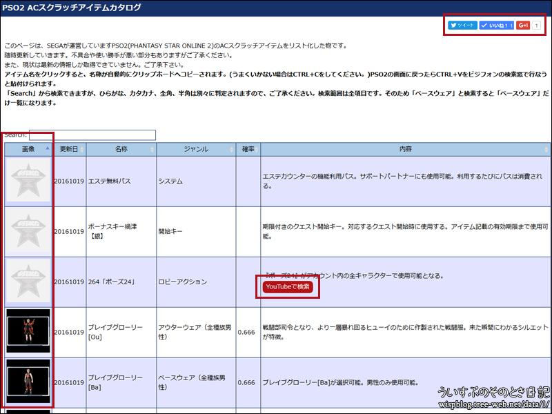PSO2 ACアイテムをビジフォンで検索しやすくする 「PSO2 ACスクラッチアイテムカタログ」 をアップデートしました。