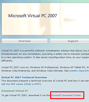 「Microsoft Virtual PC 2007」ダウンロード