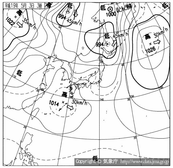2007年5月3日の天気図