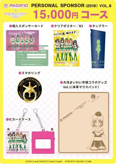 「パシフィック×ガールズ&パンツァー」第8期個人スポンサー 15,000円コース