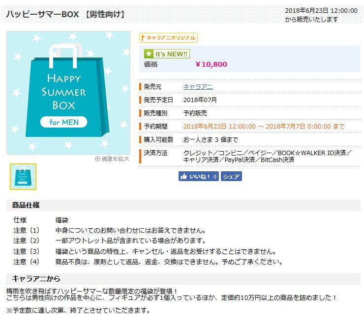 キャラアニ.com福袋 『ハッピーサマーBOX 【男性向け】』  HP