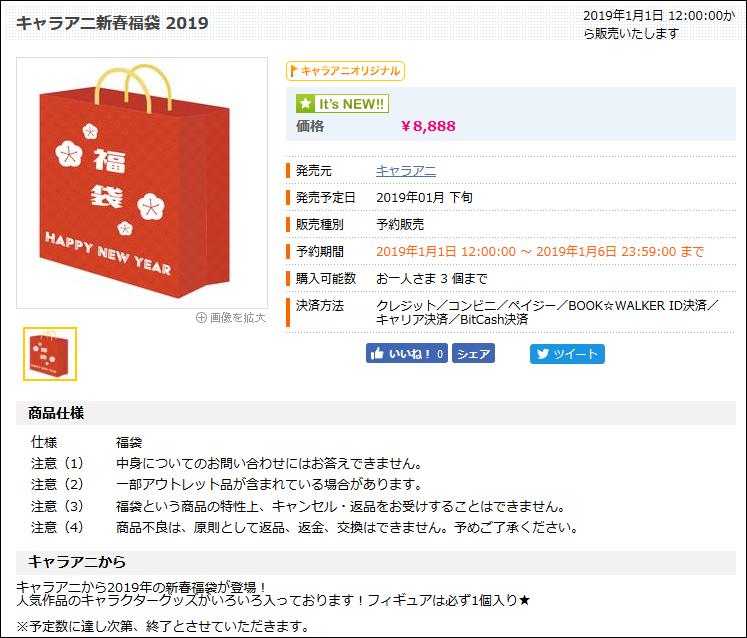 キャラアニ新春福袋2019