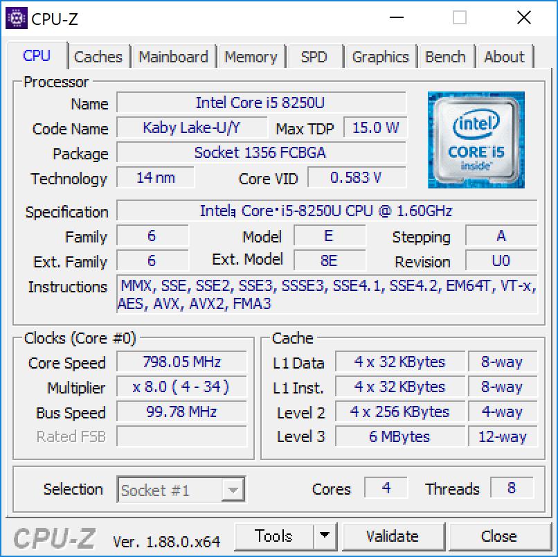 Surface Pro 6 CPU-Z (CPU)