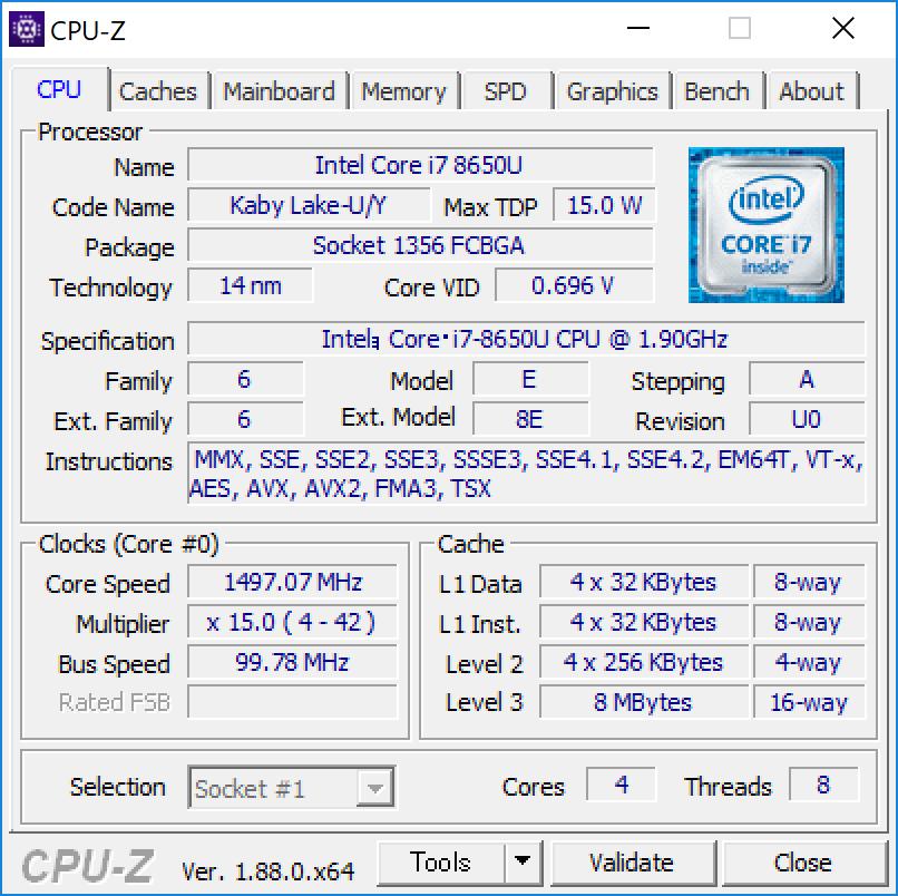 Surface Pro 6 [ KJW-00017 ] CPU-Z [CPU]