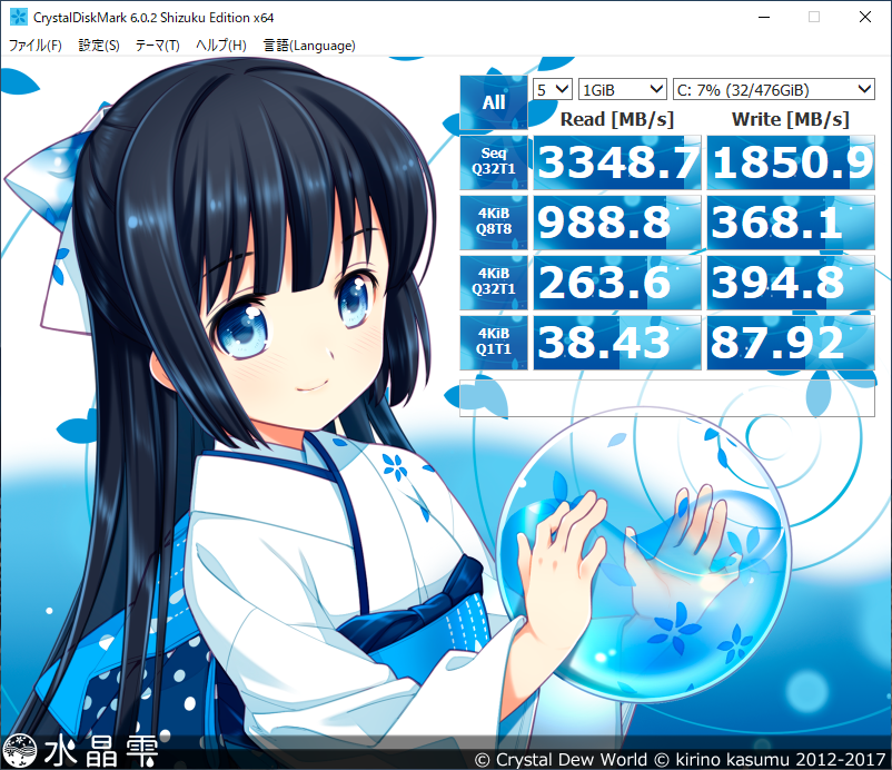 HP ENVY Curved All-in-One 34 [CrystalDiskMark(水晶雫)]