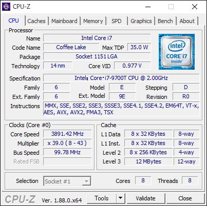 HP Pavilion All-in-One 24 第9世代 Intel CPU [CPU-Z : CPU]