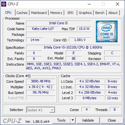 DELL Inspiron 24 5000 フレームレス デスクトップ [CPU-Z / CPU]