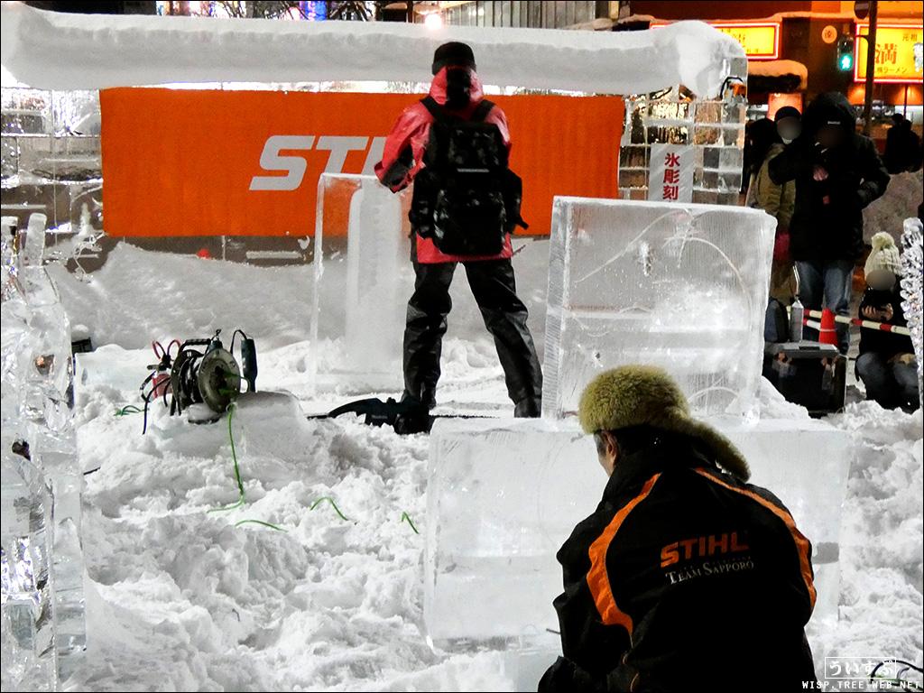 すすきの会場:氷像制作の実演