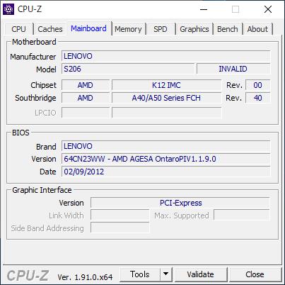Lenovo IdeaPad S206 [CPU-Z / Mainboard]