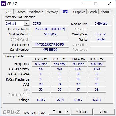 Lenovo IdeaPad S206 [CPU-Z / SPD]