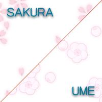梅と桜のパターンを利用した、背景素材