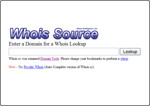 Whois Source TOP画面